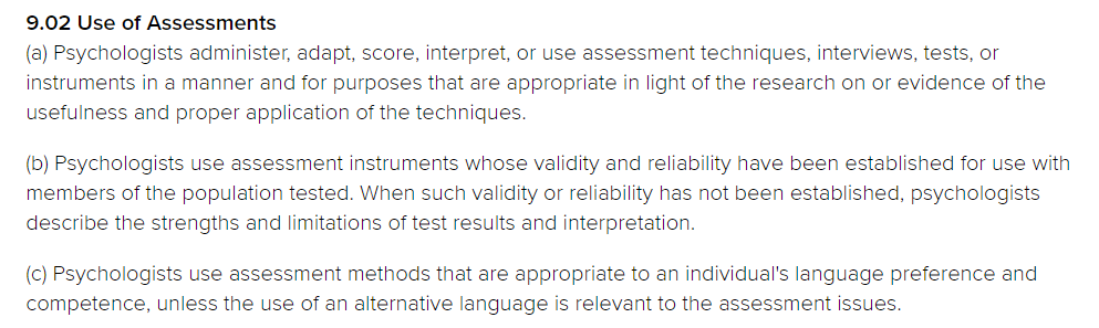 use of assessments